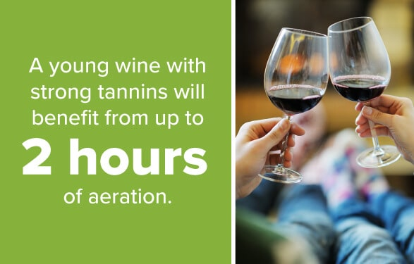 Young Wine with Strong Tannins Benefits from Up to 2 Hours of Aeration