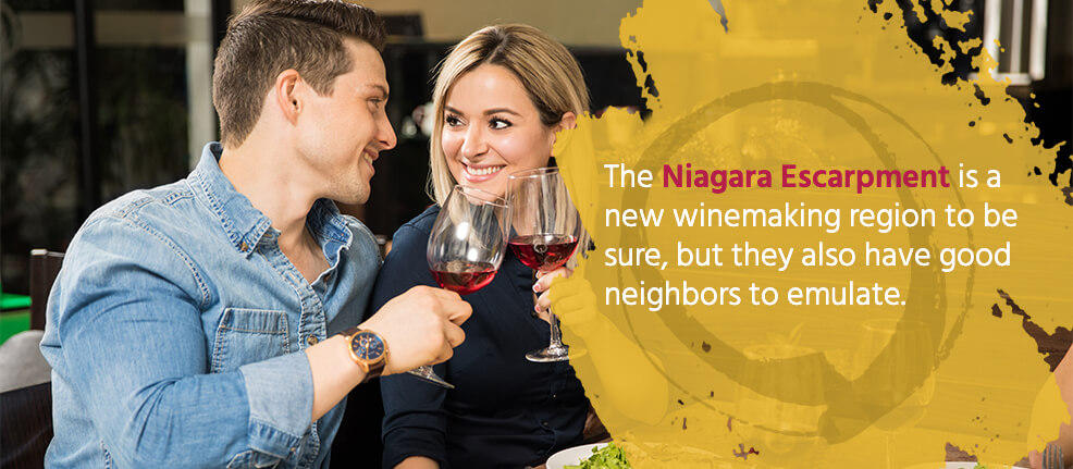 The Niagara Escarpment is a new winemaking region to be sure, but they also have good neighbors to emulate