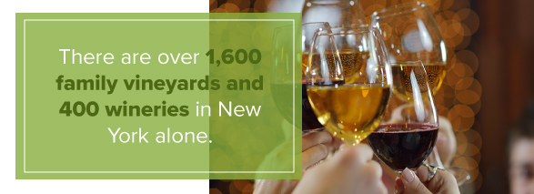 Over 1,600 family vineyards and 400 wineries in New York