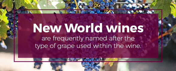 New World Wines are named after the type of grape used within the wine