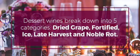 Dessert wines break down into 5 categories: dried grape, fortified, ice, late harvest and noble rot