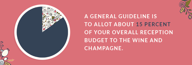 A general guideline is to allot about 15% of your overall reception budget to the wine and champagne.