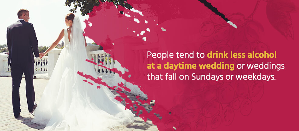 People tend to drink less alcohol at a daytime wedding or weddings that fall on Sundays or weekdays.