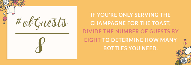 If you're only serving champagne for the toast divide the number of guests by eight to determine how many bottles you need