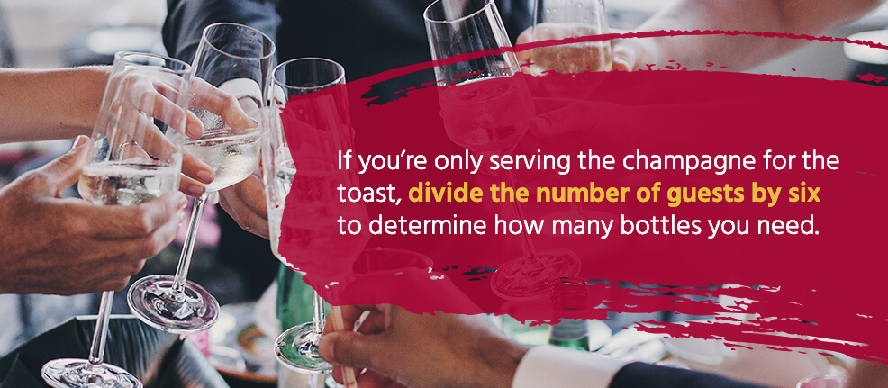 If you're only serving the champagne for the toast, divide the number of guests by six to determine how many bottles you need.