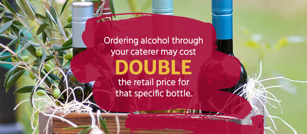 Ordering wineand champagnethrough your caterer may cost you aboutdouble the retail pricefor that specific bottle.