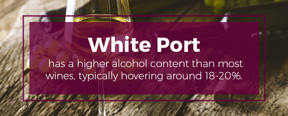 White Port has a higher alcohol content than most wines, typically hovering around 18-20%