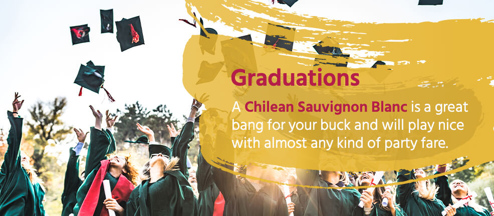 Graduations: A Chilean Sauvignon Blanc is a great bang for your buck and will play nice with almost any kind of party fare.