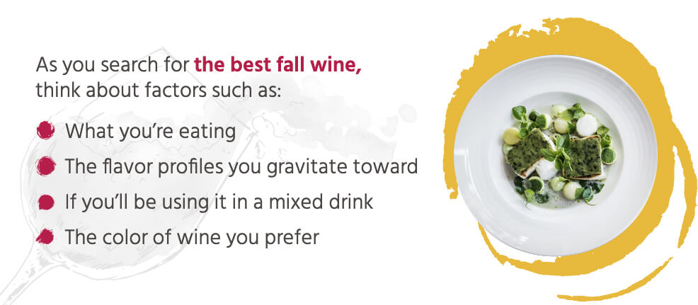 As you search for the best fall wine, think about factors such as: What you're eating, the flavor profiles you gravitate toward, if you'll be using it in a mixed drink, the color of wine you prefer.