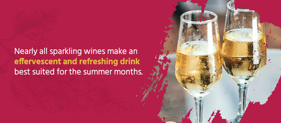 Nearly all sparkling wines make an effervescent and refreshing drink best suited for the summer months.