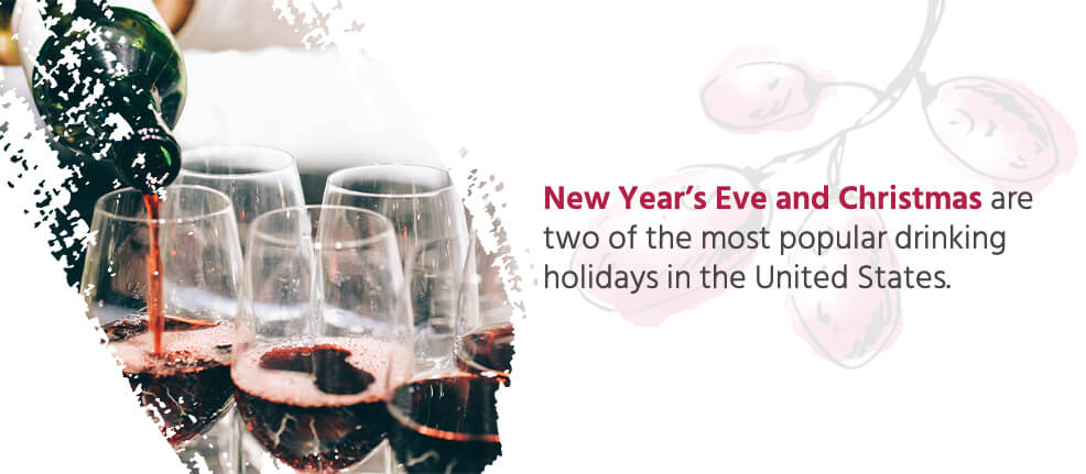 New Year's Eve and Christmas are two of the most popular drinking holidays in the United States.