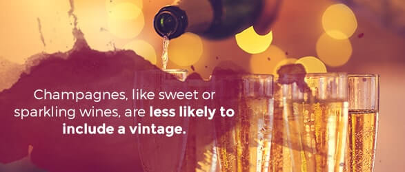 Champagnes, like sweet or sparkling wines, are less likely to include a vintage.