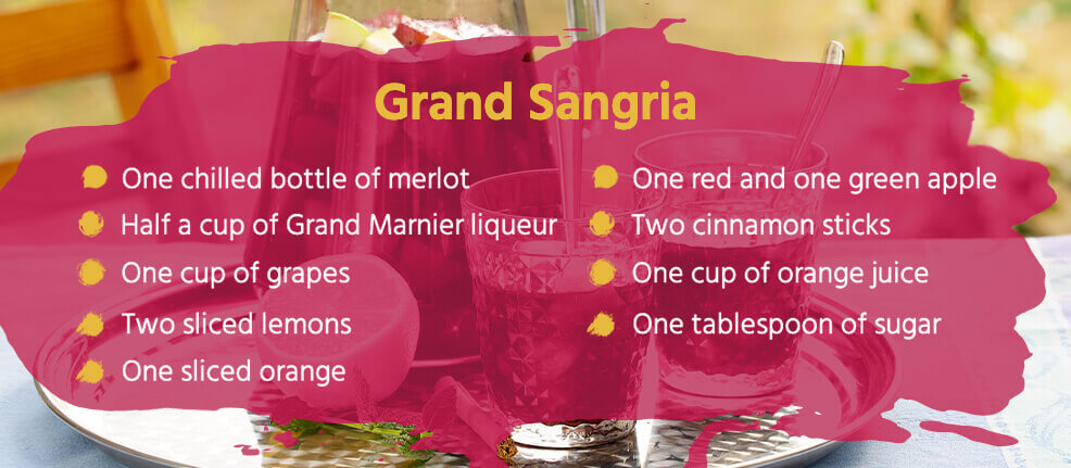 Grand Sangria Cocktail Recipe - One chilled bottle of merlot, half a cup of Grand Marnier Liqueur, one cup of grapes, 2 sliced lemons, one sliced orange, one red and one green apple, two cinnamon sticks, one cup of orange juice and one tablespoon of sugar.