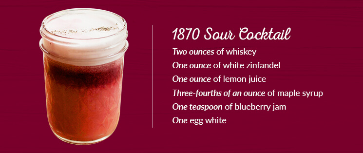 1870-Sour-Cocktail Ingredients: Two ounces of whiskey, One ounce of white zinfandel, One ounce of lemon juice, Three-fourths of an ounce of maple syrup, One teaspoon of blueberry jam, and One egg white