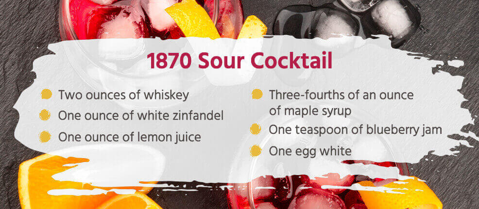 1870 Sour Cocktail Recipe - two ounces of whiskey, one ounce of white zinfandel, one ounce of lemon juice, three-fourths of an ounce of maple syrup, one teaspoon of blueberry jam, one egg white.
