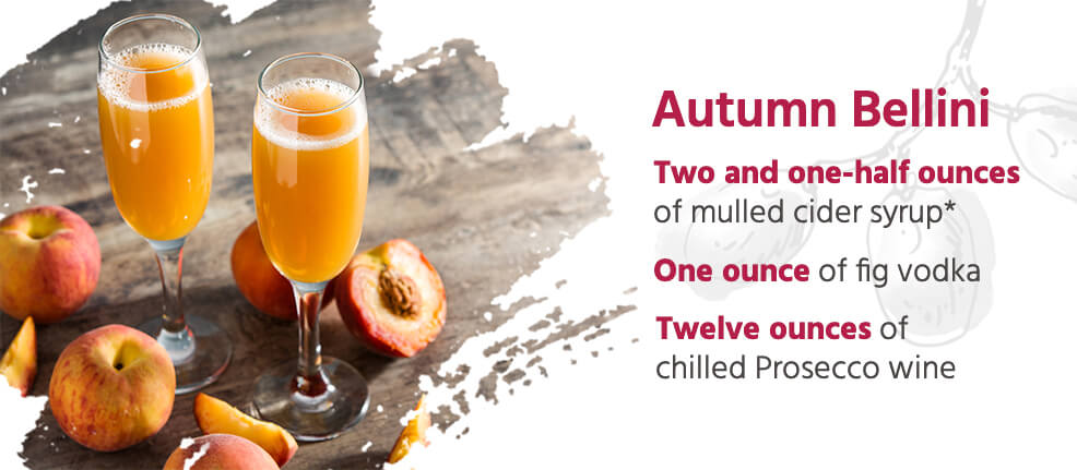 Autumn Bellini Cocktail Recipe - Two and one-half ounces of mulled cider syrup, one ounce of fig vodka & 12 ounces of chilled prosecco wine.