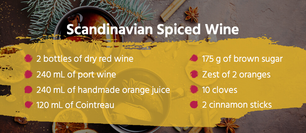 Scandinavian spiced wine recipe