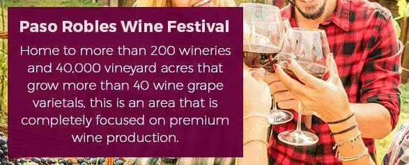 8. Paso Robles Wine Festival - Home to more than 200 wineries and 40,000 vineyard acres that grow more than 40 wine grape varietals, this is an area that is completely focused on premium wine production.