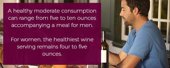 A healthy moderate consumption can range from five to ten ounces accompanying a meal for men. For women, the healthiest wine serving remains four to five ounces.