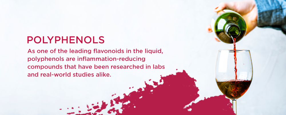 As one of the leading flavonoids in the liquid, polyphenols are inflammation-reducing compounds that have been researched in labs and real-world studies alike.