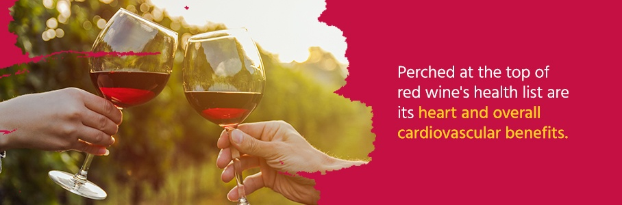 Improves cardiovascular health: Perched at the top of red wine's health list are its association with the heart and overall cardiovascular benefits.