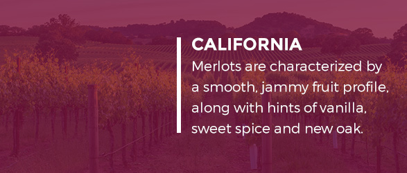 Merlots characterized by a smooth, jammy fruit profile, along with hints of vanilla, sweet spice and new oak.