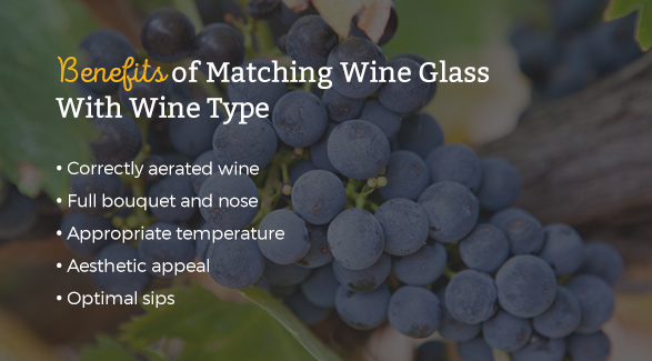 Benefits of Matching Wine Glass With Wine Type: Correctly aerated wine, full bouquet and nose, appropriate temperature, aesthetic appeal, and optimal sips.