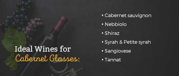 Ideal wines for cabernet glasses: Cabernet sauvignon, Nebbiolo, Shiraz, syrah, petite syrah, Sangiovese, Tannat