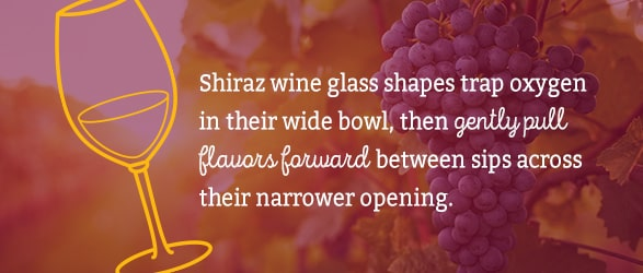Shiraz wine glass shapes trap oxygen in their wide bowl, then gently pull flavors forward between sips across their narrower opening.