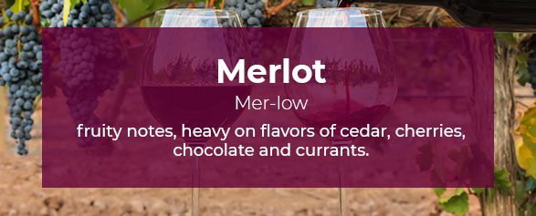 Merlot Pronounced: Mer-low has fruity notes, heavy on flavors of cedar, cherries, chocolate and currants.