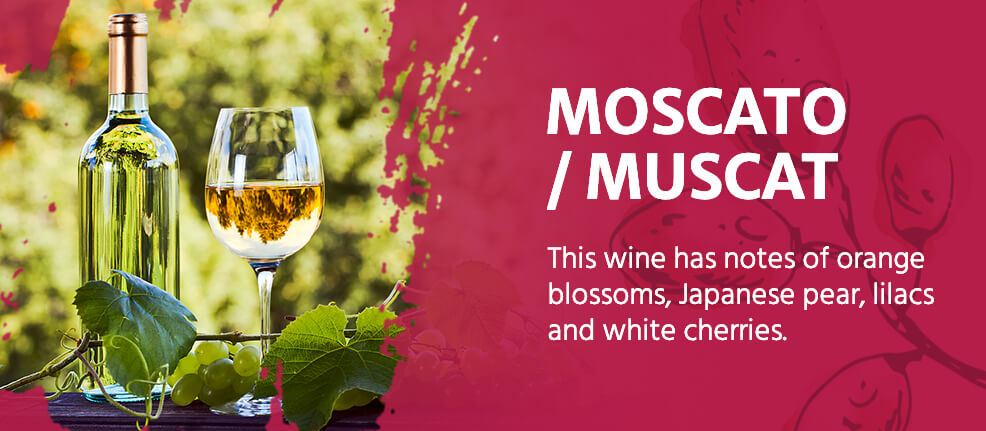 Moscato/Muscat wine has notes of orange blossoms, Japanese pear, lilacs and white cherries