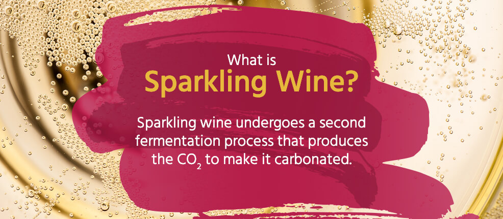 Sparkling wine undergoes a second fermentation process that makes it carbonated