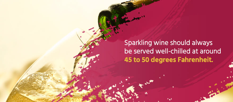 Sparkling wine should always be served well-chilled at around 45 to 50 degrees fahrenheit