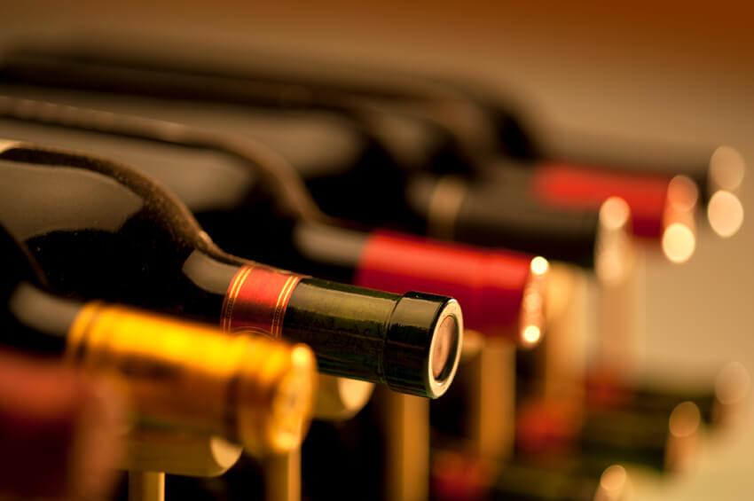 Bottles of wine on shelf
