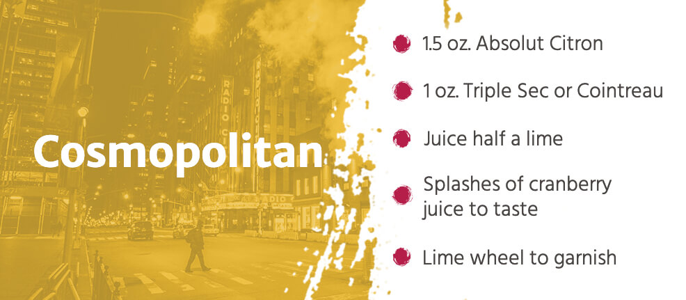 ingredients in a Cosmopolitan cocktail