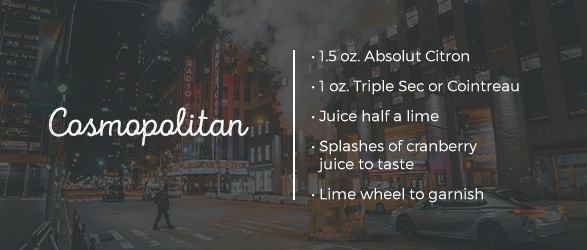 Cosmopolitan Drink Recipe: 1.5 oz. Absolut Citron, 1 oz. Triple Sec or Cointreau, Juice half a lime, Splashes of cranberry juice to taste, and lime wheel to garnish