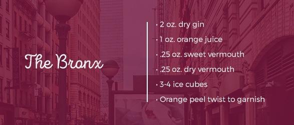 The Bronx Drink Recipe: 2 oz. dry gin, 1 oz. orange juice, .25 oz. sweet vermouth, .25 oz. dry vermouth, 3-4 ice cubes. orange peel twist to garnish