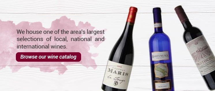 We house one of the area's largest selections of local, national and international wines. Browse our wine catalog,