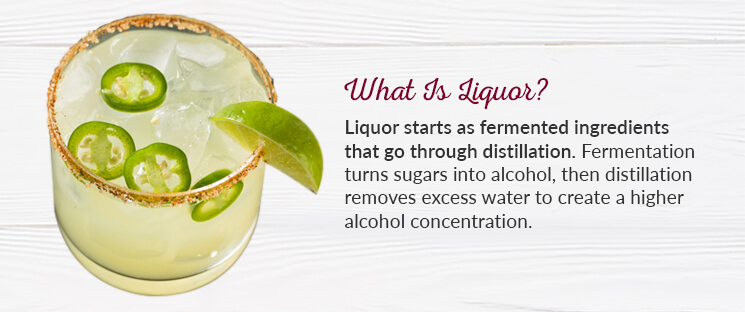What is Liquor? Liquor starts as fermented ingredients that go through distillation. Fermentation turns sugars into alcohol, then distillation removes excess water to create a higher alcohol concentration.