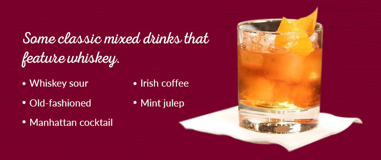 Classic mixed drinks that feature whiskey: Whiskey Sour, Old-fashioned, Manhattan cocktail, Irish coffee, and Mint Julep