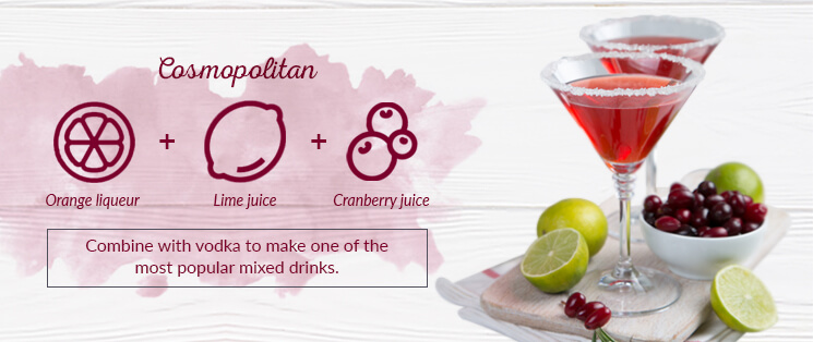 Cosmopolitan: Orange liqueur, lime juice and cranberry juice combine with vodka to make one of the most popular mixed drinks.