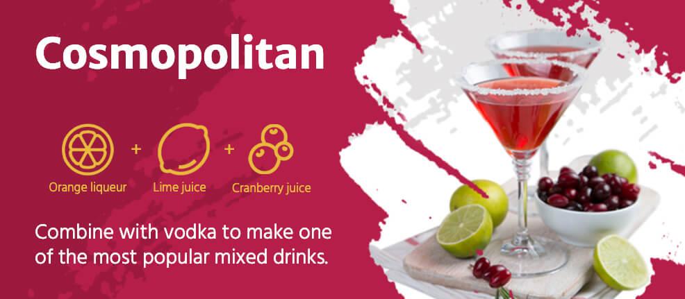 Cosmopolitan drink ingredients- combine with vodka