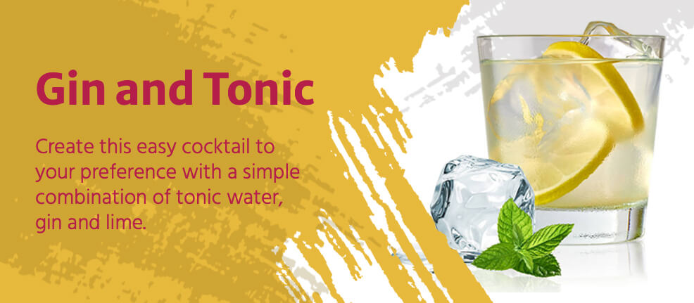 Create this easy cocktail to your preference with a simple combination of tonic water, gin and lime