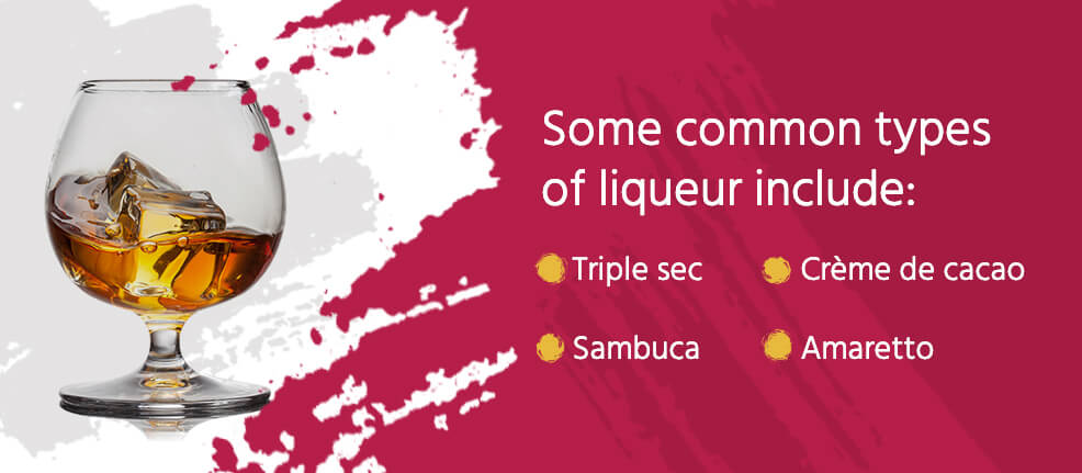 common types of liqueur include: triple sec, sambuca, creme de cacao, amaretto