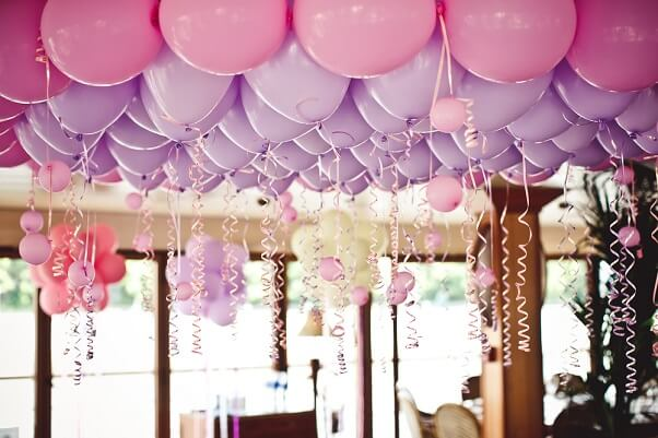 Purple and Pink Balloons for a Birthday Celebration