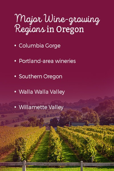 Major wine-growing regions in Oregon: Columbia Gorge, Portland-area wineries, Southern Oregon, Walla Walla Valley, and Willamette Valley