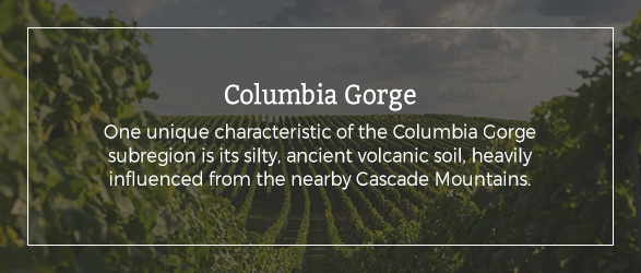 Columbia Gorge: One unique characteristic of the Columbia Gorge subregion is its silty, ancient volcanic soil, heavily influenced from the nearby Cascade Mountains.