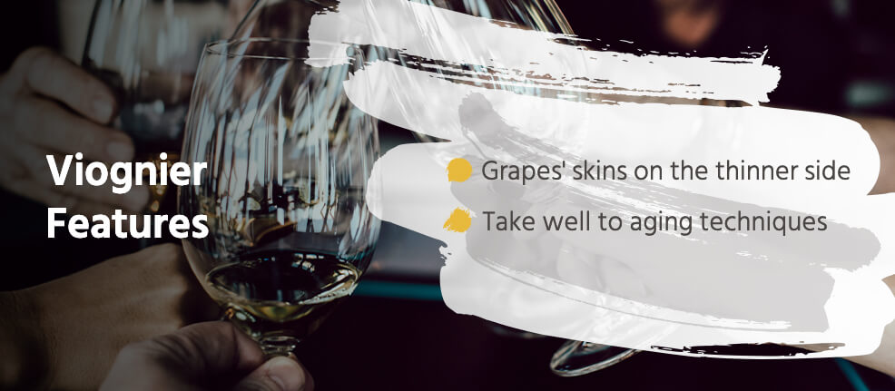 Viognier Features: grapes' skins grow on the thinner side and they take well to aging techniques.