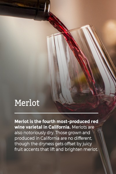 Merlot is the fourth most-produced red wine varietal in California. Merlots are also notoriously dry. Those grown and produced in California are no different, though the dryness gets offset by juicy fruit accents that lift and brighten merlot.