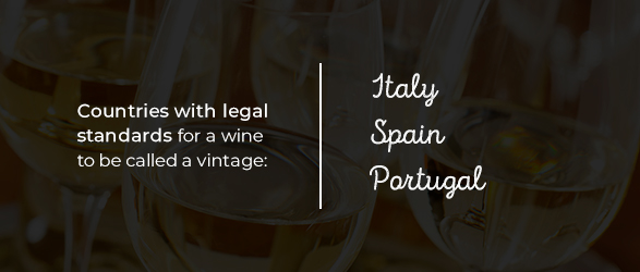 Countries with legal standards for a wine to be called vintage: Italy, Spain and Portugal